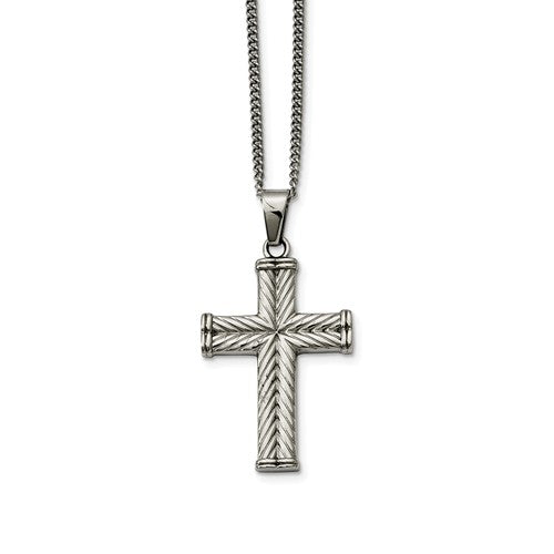 Stainless Steel Fancy Textured Cross Pendant Necklace