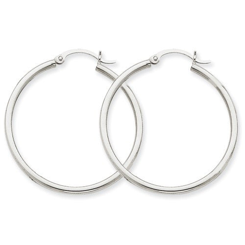Lightweight White Gold Hoop Earrings | 14kt
