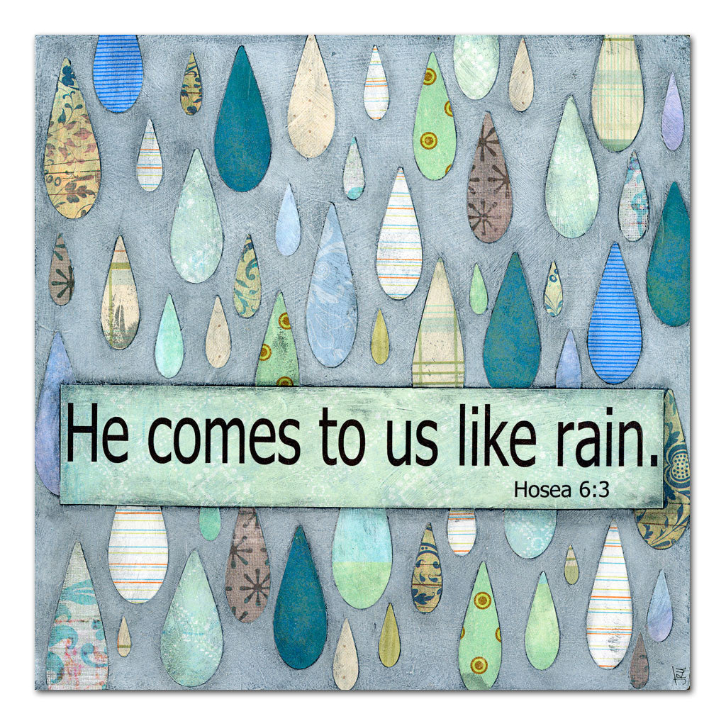 He comes like rain scripture art