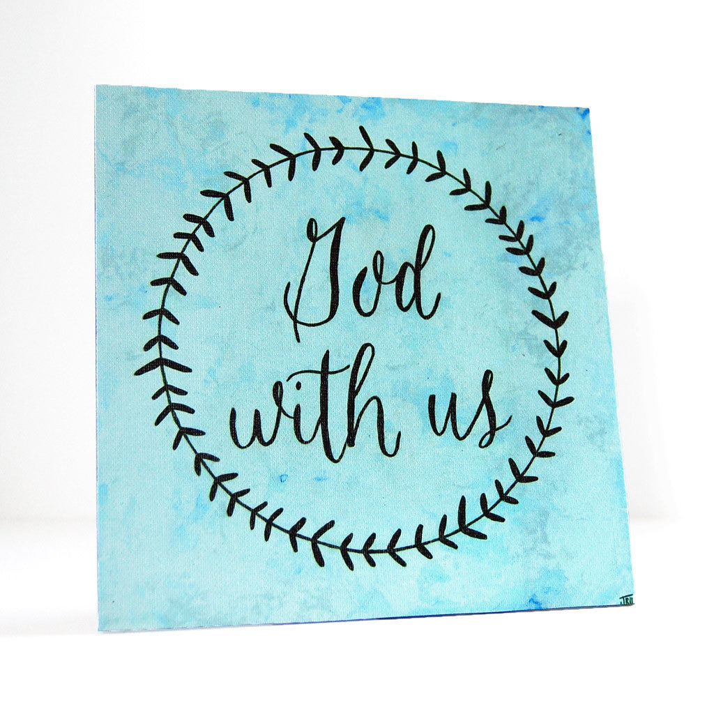 God with us Christmas canvas