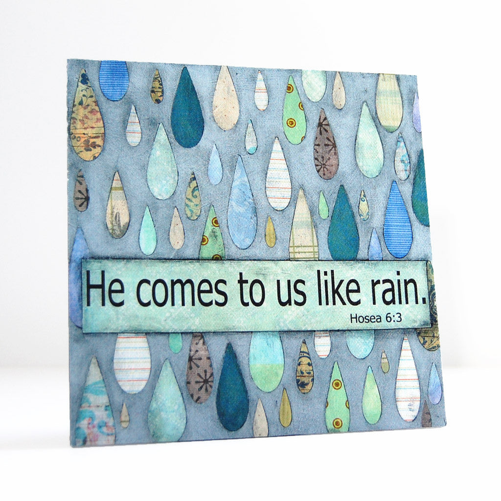 He comes to us like rain scripture canvas art