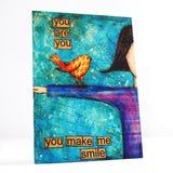 you make me smile girl uplifting canvas art