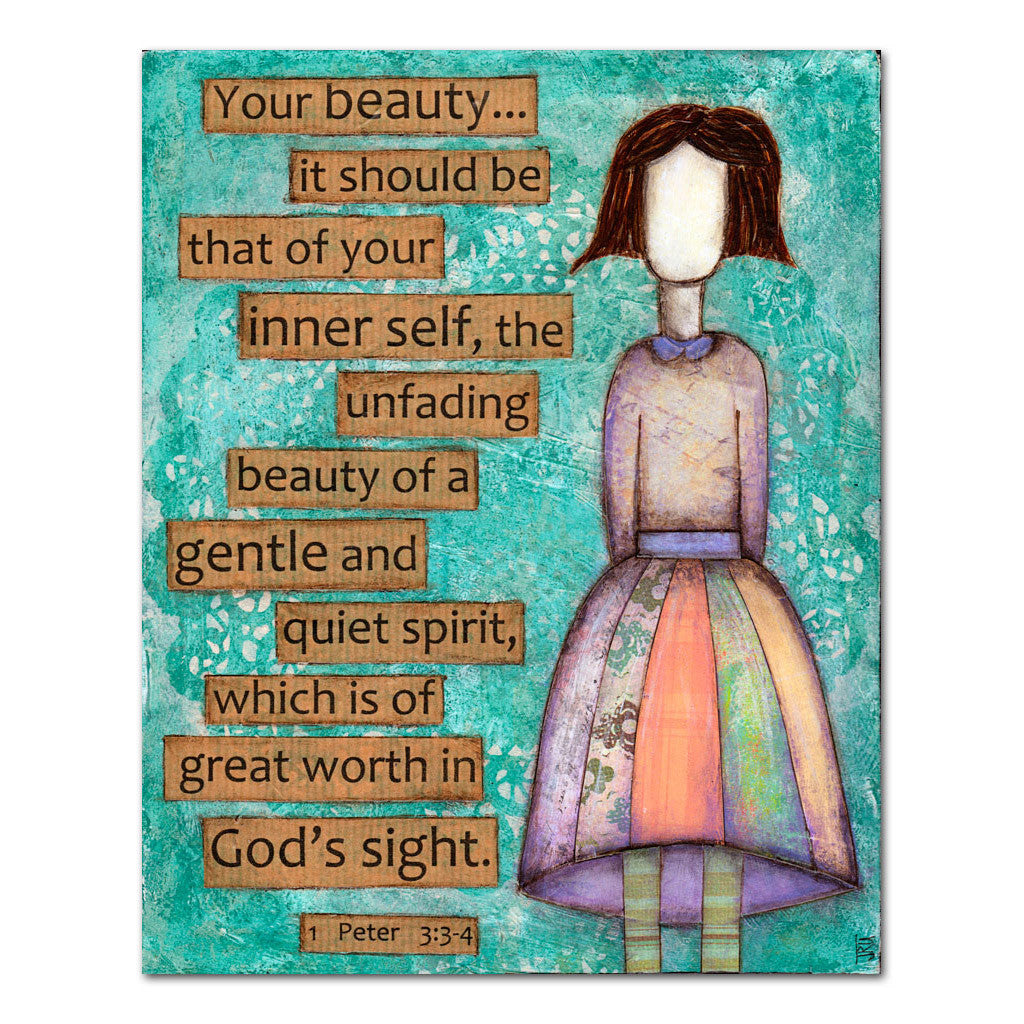 unfading beauty girl scripture art
