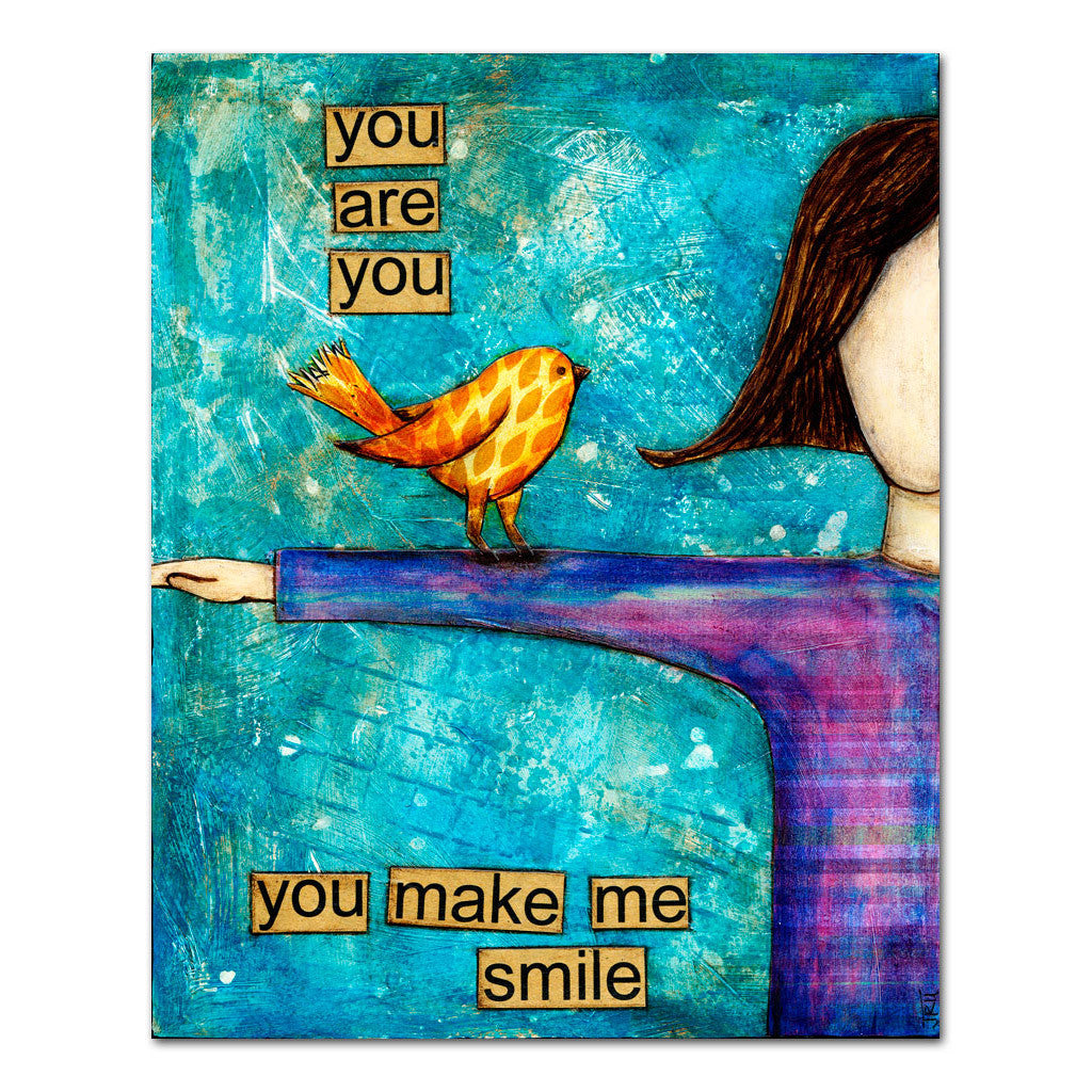 you make me smile girl encouraging art