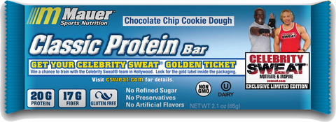 Celebrity Sweat Golden Ticket Chocolate Chip Cookie Dough Protein Bar
