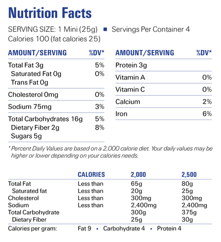 Cashew Butter Minis Nutrition Facts