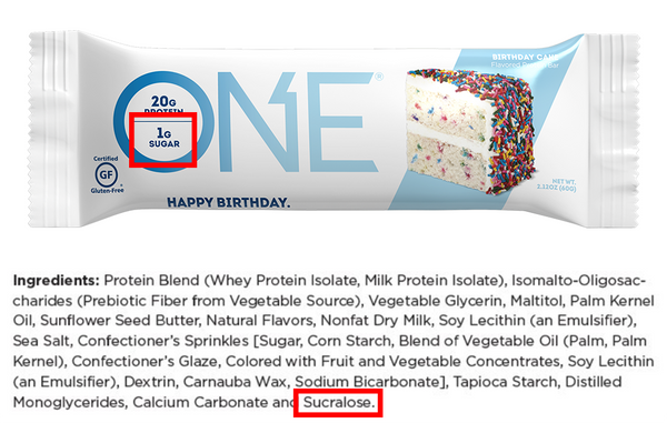 ONE Bar Protein Bar Contains Artificial Sweetener Sucralose