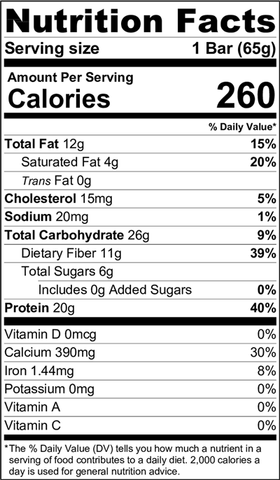 Nutrition Facts - Coconut Cashew Protein Bar