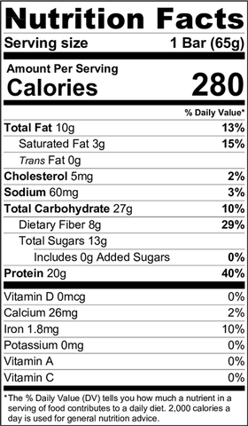 Nutrition Facts - Chocolate Chip Cookie Dough Protein Bar