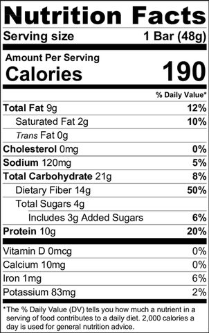 Nutrition Facts - Chocolate Brownie Organic Trim Weight Management Bar