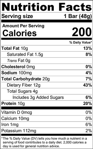 Nutrition Facts - Peanut Crunch Organic Trim Weight Management Bar