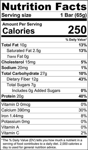 Nutrition Facts - White Chocolate Strawberry Protein Bar