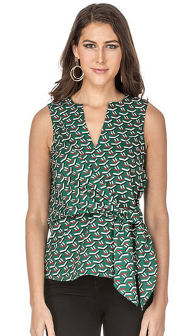 Green Geo Print Side Tie Top