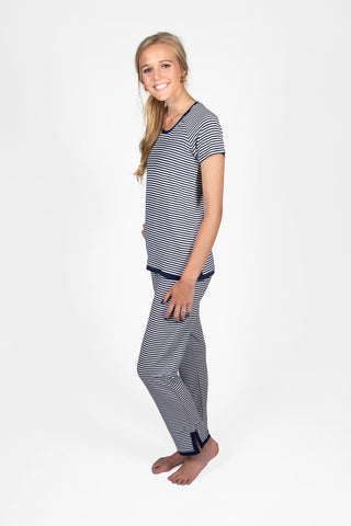 Kelly Short Sleeve Top with Sandy Pant in Navy Stripe