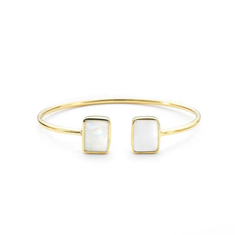 Moonstone Emerald Cut 2 Stone Bangle