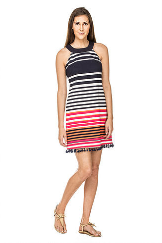 Pink Stripe Halter Dress