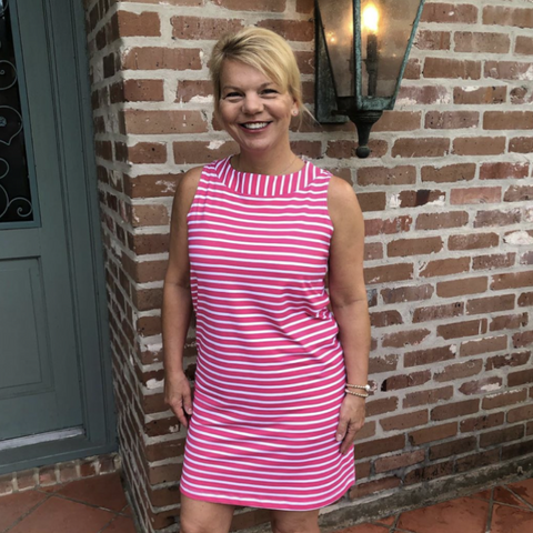 Hot Pink/White Summer Stripe Yacht Club Shift Dress