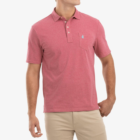 Heathered Original Polo in Rio Red