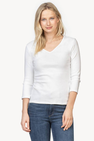White V-Neck 3/4 Sleeve Tee