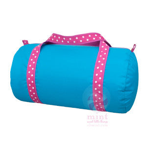 Aqua Polka Dot Medium Duffel