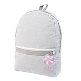 Gray Seersucker Medium Backpack