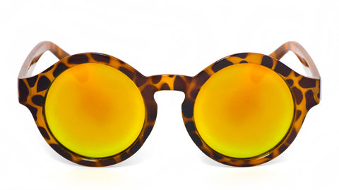 Orange Mirrored Round Leopard Sunglasses - Madison