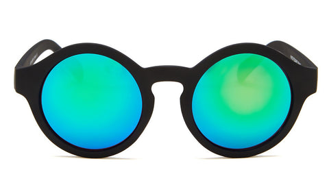 Green Mirrored Round Matte Black Sunglasses - Morello