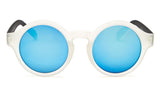 Blue Mirrored Crystal Round Frame Sunglasses - Madison