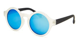 Crystal Round Blue Mirrored Frame Sunglasses - Madison