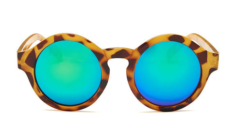 Green Mirrored Round Leopard Sunglasses - Madison