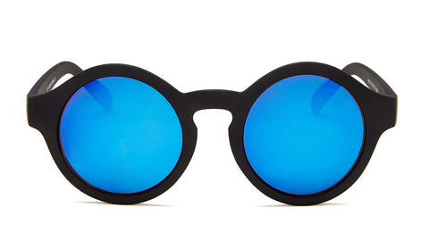 Blue Mirror Round Sunglasses with Black Frames - Madison