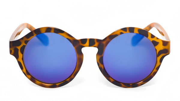 Blue Mirror Leopard Round Sunglasses - Madison