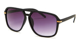Square Aviator Black and Gold Sunglasses - Milan