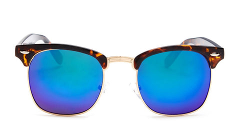 Green Mirrored Tortoise Shell Clubmaster Sunglasses - Hamilton