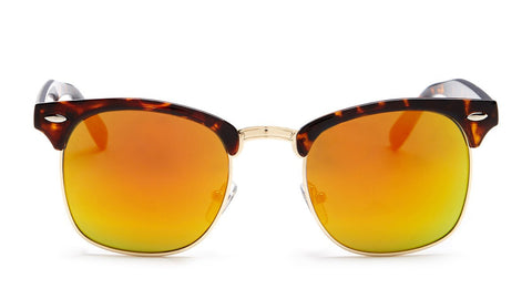 Yellow Mirrored Tortoise Shell Clubmaster Sunglasses - Hamilton