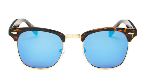 Blue Mirrored Tortoise Shell Clubmaster Sunglasses - Hamilton