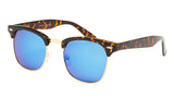 Tortoise Shell Blue Mirrored Clubmaster Sunglasses - Hamilton