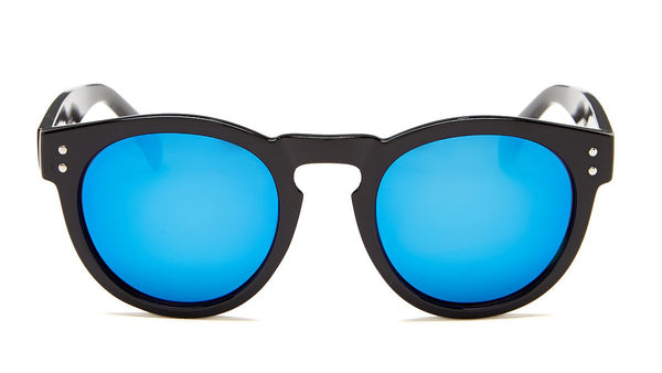 Blue Mirror Black Frame Sunglasses - Florence