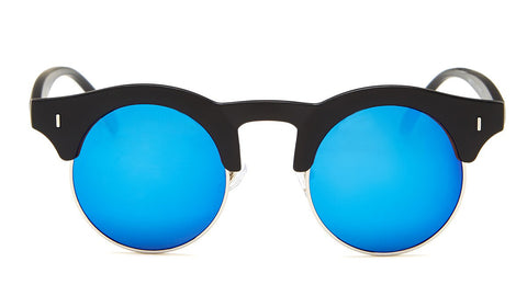 Blue Mirrored Round Sunglasses - Formentera