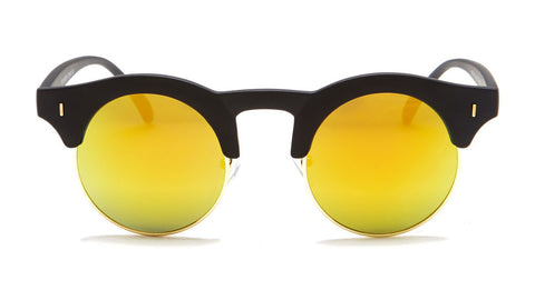 Matte Black Vintage Sunglasses with Yellow Mirror - Formentera