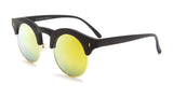 Yellow Mirror Matte Black Vintage Sunglasses - Formentera