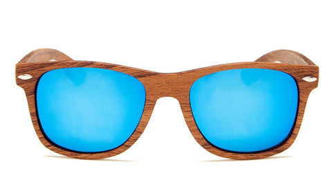 Blue Mirror Wood Frame Wayfarer Sunglasses - Aspen