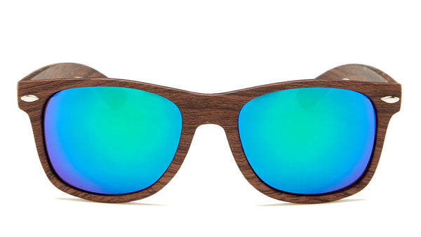 Green Mirror Wood Frame Wayfarer Sunglasses - Aspen