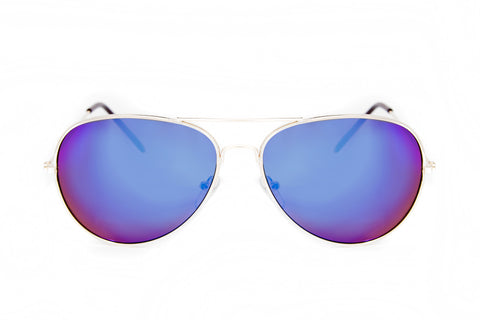 Blue Mirror Aviator Sunglasses in Gold - Madison