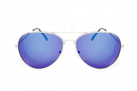 Blue Mirror Aviator Sunglasses in Silver - Madison