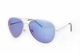 Aviator Blue Mirror Sunglasses in Silver - Madison