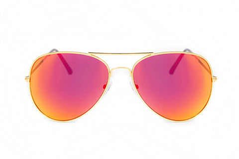 Red Mirror Aviator Sunglasses in Gold - Miramar