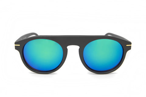 Green Mirror Matte Black Round Frame Sunglasses - Amalfi