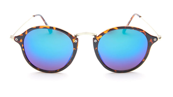 Blue Mirror Round Sunglasses with Tortoise - Santorini