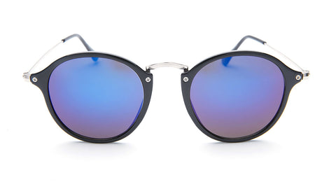 Blue Mirrored Round Sunglasses - Santorini